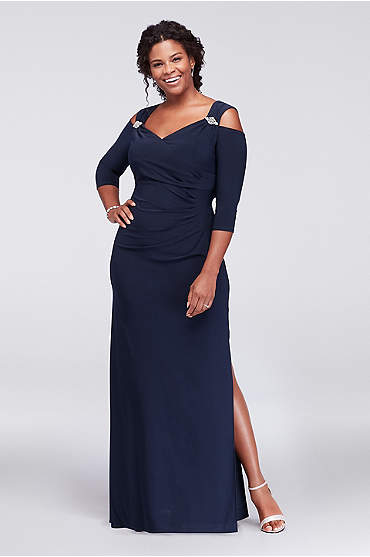Cold Shoulder Plus Size Gown with Crystal Accents