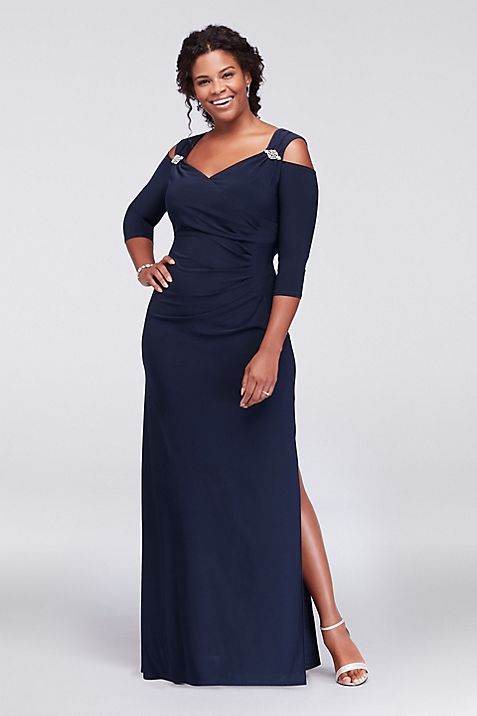 Cold Shoulder Plus Size Gown with Crystal Accents | David\'s Bridal