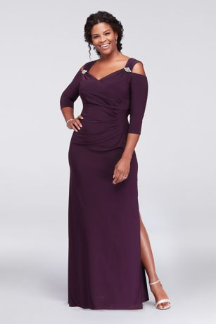 Plus Size Cold Shoulder Gown with Crystal Accents