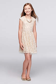 Sequined Lace Party Dress with Jeweled Necklace