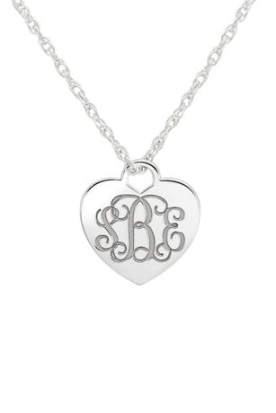 Personalized Monogram Heart Pendant Necklace