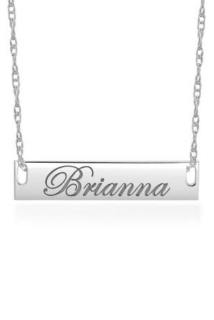 Personalized Bar Necklace with Script Lettering