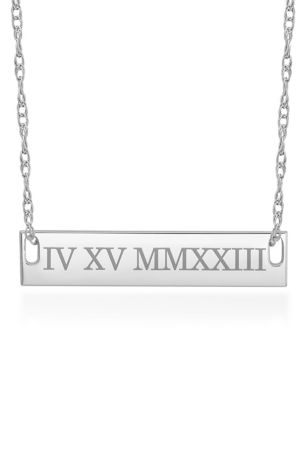 Date Personalized Bar Necklace With Roman Numerals