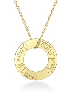 Personalized Ring Necklace with Name and Date