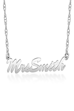 Personalized Mrs Last Name Script Necklace