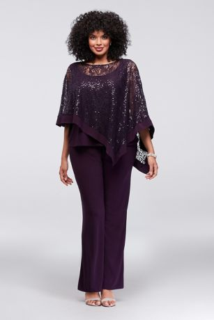 Sequin Lace Plus Size Pantsuit with Sheer Capelet