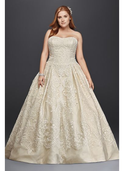 Oleg Cassini Plus Size Lace Tulle Wedding Dress | David\'s Bridal