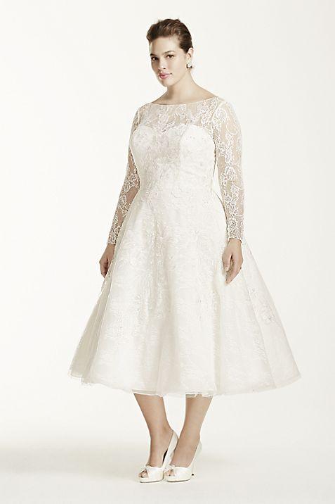 Oleg Cassini Long Sleeved Tea Length Wedding Dress | David\'s Bridal