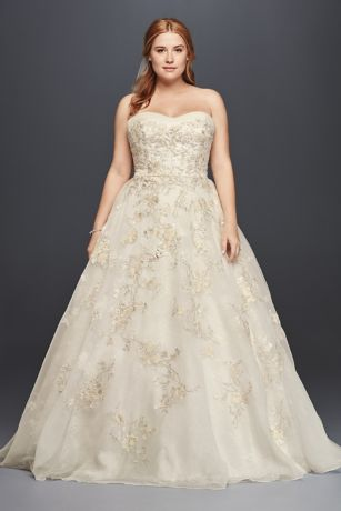 Oleg Cassini Organza Wedding Dress with Beading