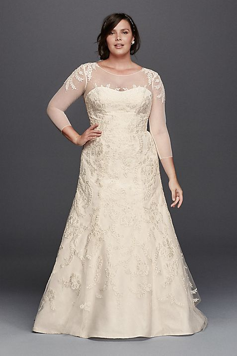 Oleg Cassini Plus Size Wedding Dress with Sleeves   David\'s Bridal