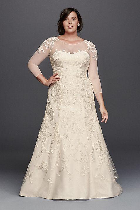 Oleg Cassini Wedding Dress with Illusion Sleeves   David\'s Bridal