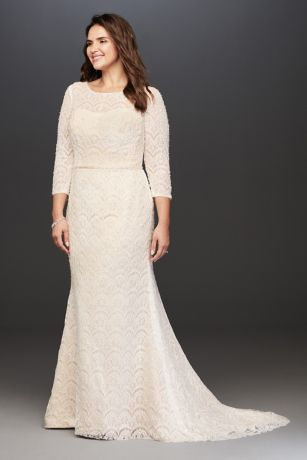 Long Sheath Wedding Dress - Oleg Cassini