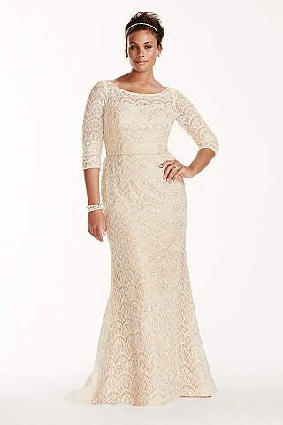 Long Sheath Vintage Wedding Dress   Oleg Cassini