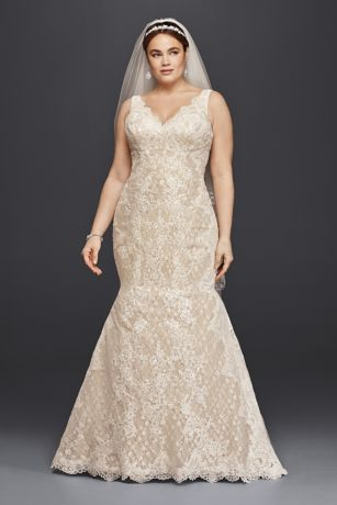 Oleg Cassini Plus Size Lace Trumpet Wedding Dress