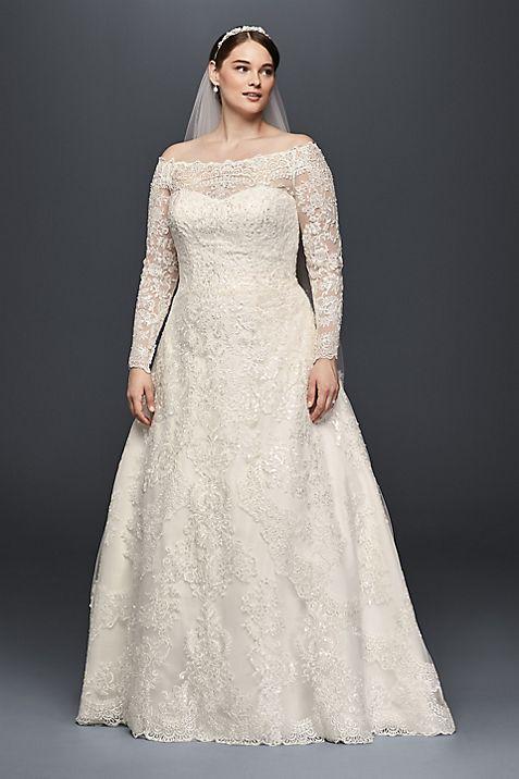 Off The Shoulder Plus Size A Line Wedding Dress