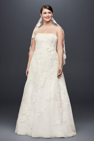 Lace Appliqued Plus Size Wedding Dress and Topper