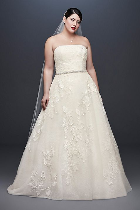 Rose Lace Plus Size Ball Gown Wedding Dress | David\'s Bridal