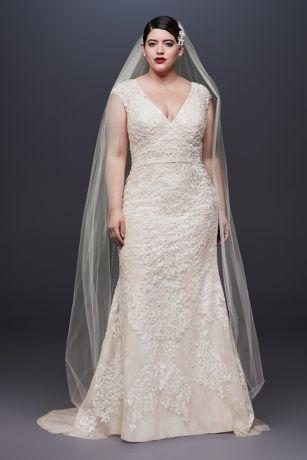 Cap Sleeve Plunging V-Neck Plus Size Wedding Dress