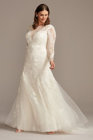 Long Mermaid/Trumpet Wedding Dress - Oleg Cassini