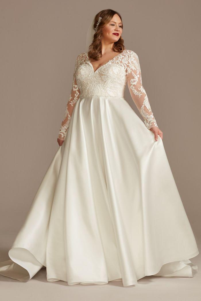 Long Sleeve Satin Plus Size Applique Wedding Dress OLEG CASSINI  8CWG908