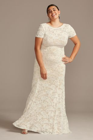Short Sleeve Low Back Plus Size Lace Wedding Dress