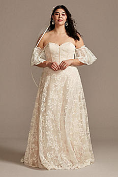 Plus Size Wedding Dress with Removable Sleeves 8MS161231