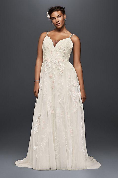 Scalloped A-Line Plus Size Wedding Dress | David\'s Bridal