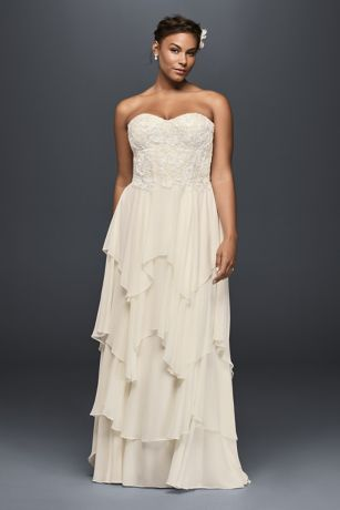 Tiered Chiffon Plus Size A-Line Wedding Dress   David\'s Bridal