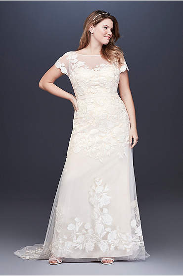Floral Illusion Cap Sleeve Plus Size Wedding Dress