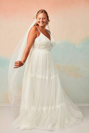 corset tiered chiffon plus size wedding dress  david's bridal