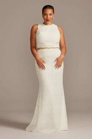 Lace Two-Piece Scalloped Plus Size Wedding Dress