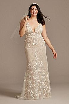 3D Leaves Applique Lace Plus Size Wedding Dress 8MS251223