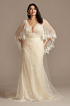 Lace Plus Size Wedding Dress with Trimmed Capelet 8MS251224