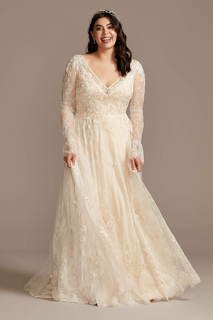 Plus Size Vintage Wedding Dresses Retro Gowns 14w 30w David S Bridal