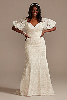 Puff Sleeve Plus Size Wedding Dress with Low Back 8MS251243
