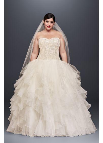 Oleg Cassini Ruffled Skirt Plus Size Wedding Dress Davids Bridal