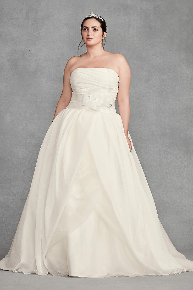 Vera Wang David's Bridal One Shoulder Wedding Dress