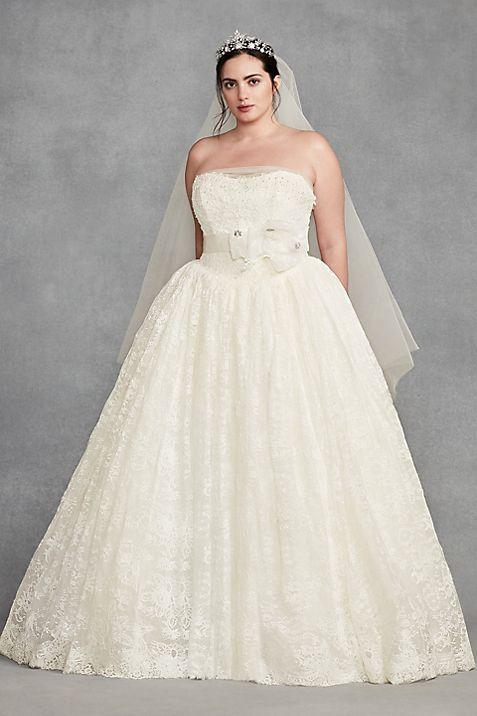 White by Vera Wang Corded Plus Size Wedding Dress | David\'s Bridal