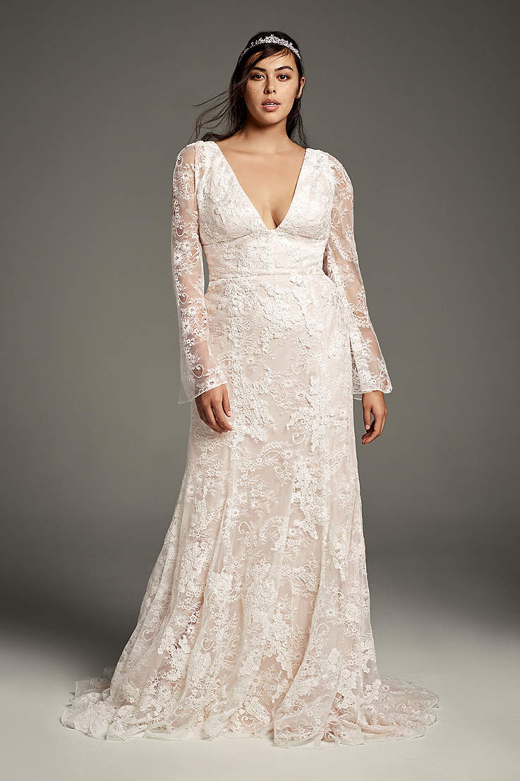 A wedding dress with full lace sleeves