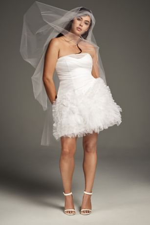 Short A-Line Wedding Dress - White by Vera Wang