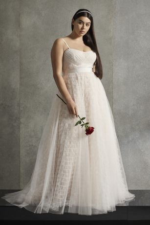 White by Vera Wang Tiered Plus Size Wedding Dress