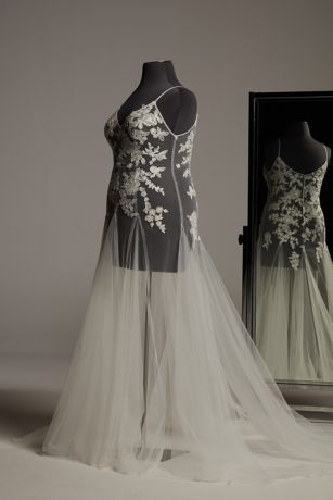 White by Vera Wang Floral Applique Plus Overdress