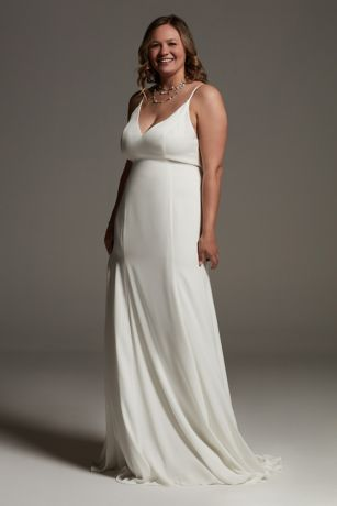 White by Vera Wang V-Neck Crepe Plus Slip Dress