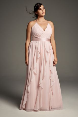 63afa02350a Soft   Flowy White by Vera Wang Long Bridesmaid Dress
