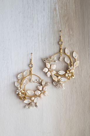 Floral Sculpture Freshwater Pearl Hoop Earrings