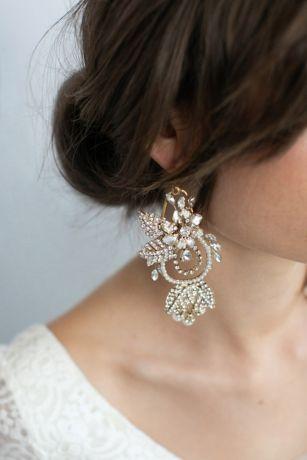 Crystal-Encrusted Floral Chandelier Earrings