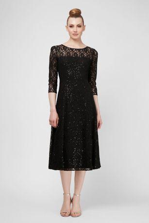 Tea Length A-Line 3/4 Sleeves Dress - SL Fashions
