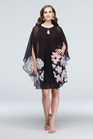 Chiffon Floral Capelet and Keyhole Dress Set