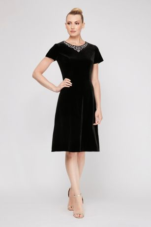 A-Line Short Sleeves Dress - SL Fashions