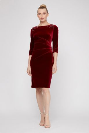 Sheath 3/4 Sleeves Dress - SL Fashions